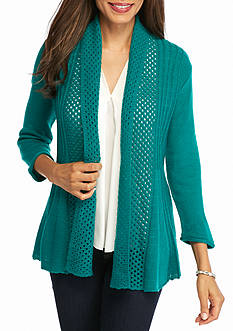 Kim Rogers Open Front Pointelle Cardigan
