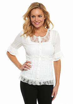 Kim Rogers Petite Crinkle Short Sleeve Blouse