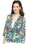 Kim Rogers® Petite Three Quarter Sleeve Printed Blazer Jacket