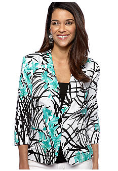 Kim Rogers Petite Three Quarter Sleeve Printed Blazer Jacket