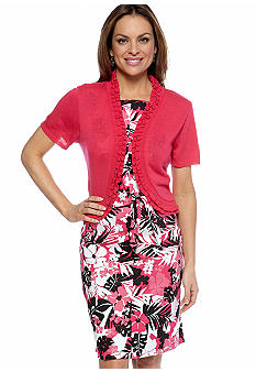 Kim Rogers Petite Printed A-Line Dress with Ruffle Shrug