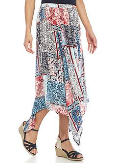 Kim Rogers Petite Printed Seamed Skirt