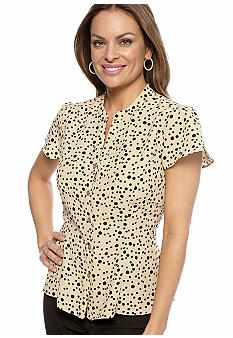 Kim Rogers Petite Short Sleeve Button Down Peplum Blouse