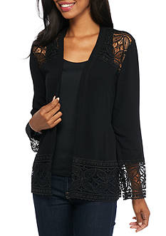 Kim Rogers Petite Long Sleeve Cozy with Lace Trim