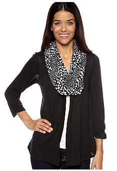 Kim Rogers Petite Solid Cozy Layered Top with Printed Scarf