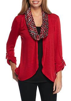 Kim Rogers Petite Sweater Top Scarf 3Fer