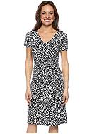Kim Rogers® Petite Printed Dress with Elastic Smocked Center
