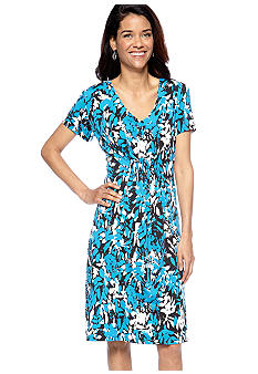 Kim Rogers Petite Printed Dress with Elastic Smocked Center