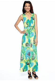 Kim Rogers Petite Printed Twist Front Maxi Dress