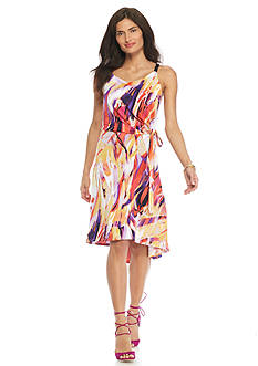 Kim Rogers Petite Printed High Low Dress