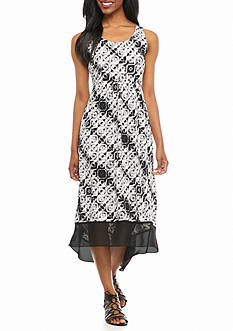 Kim Rogers Petite Hi-Lo Printed Dress