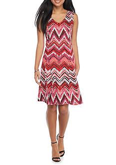 Kim Rogers Petite Sleeveless V-Neck Godet Dress