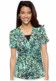 Kim Rogers Petite Printed Braided Front Top with Inset