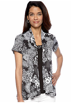 Kim Rogers Petite Short Sleeve 2fer with Embellished Neckline Top