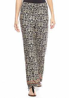 Kim Rogers Petite Printed Border Pants