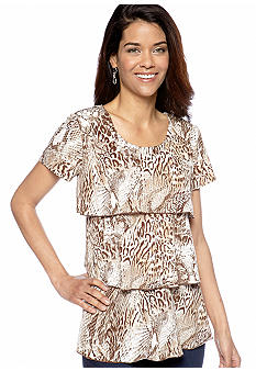 Kim Rogers Petite Animal Print Tiered Ruffle Top