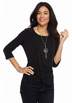 Kim Rogers Petite Crossover Top with Necklace