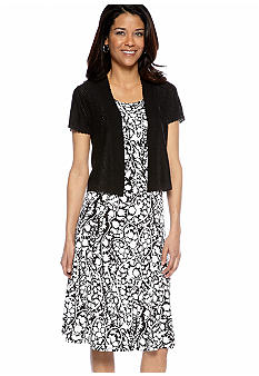 Kim Rogers Petite Printed A-Line Dress with Shrug