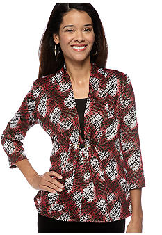 Kim Rogers Petite Allover Printed Sweater Knit 2fer