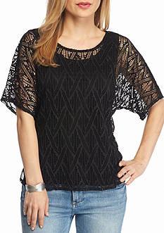 Kim Rogers Petite Short Sleeve Lace Top