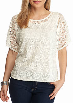 Kim Rogers Petite Short Sleeve Lace Top
