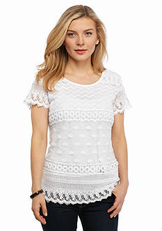 Kim Rogers Petite Lace Front Top