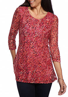 Kim Rogers Petite 3/4 Ruched Sleeve Lace Top
