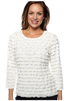 Petite 3/4 Sleeve Eyelash Ruffle Top with Lurex Shine