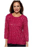 Kim Rogers® Petite 3/4 Sleeve Eyelash Ruffle Top with Lurex Shine