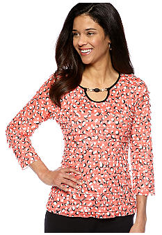Kim Rogers Petite Printed Three Quarter Sleeve Eyelash Top
