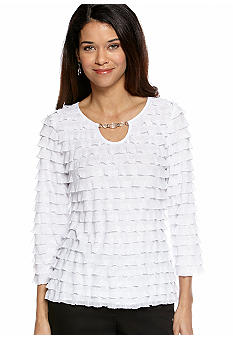 Kim Rogers Petite Eyelash Top with Bead Detail