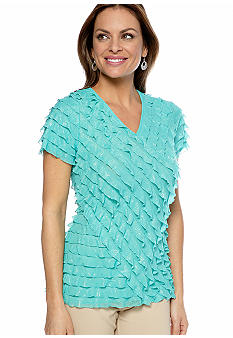 Kim Rogers Petite Short Sleeve Eyelash Top