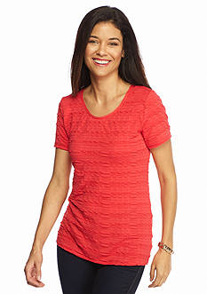 Kim Rogers Petite Solid Pucker Knit Top