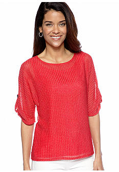 Kim Rogers Petite Short Sleeve Braid Texture Top with Tank