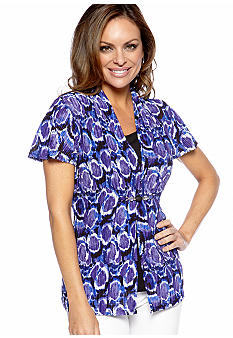 Kim Rogers Petite Short Sleeve Printed Top with Tank