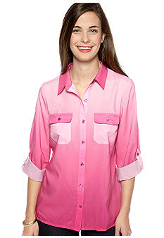 Kim Rogers Petite Button Down Ombre Blouse with Roll Tab Sleeves