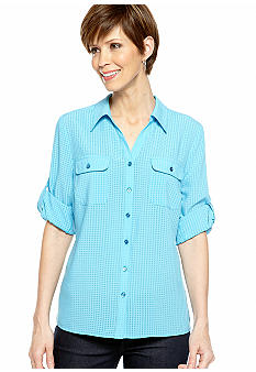 Kim Rogers Petite Button Down Blouse with Flap Pockets and Roll Tab Sleeves