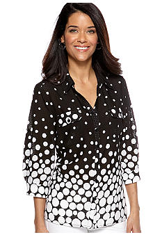 Kim Rogers Petite Button Down Blouse with Patch Pockets and Roll Tab Sleeves