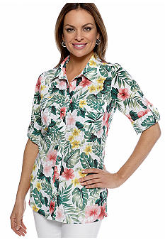Kim Rogers Petite Printed Button Down Blouse with Roll Tab Sleeves and Patch Pockets