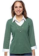 Kim Rogers® Petite Marled Layered Sweater with Necklace