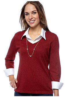 Kim Rogers Petite Marled Layered Sweater with Necklace
