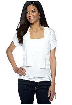 Kim Rogers Petite Short Sleeve Pointelle Shrug