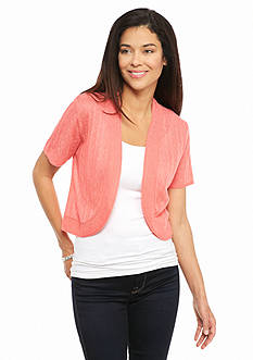 Kim Rogers Petite Short Sleeve Open Front Shrug
