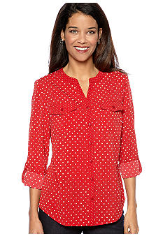 Kim Rogers® Petite Patch Pocket Button Down Dot Print Shirt
