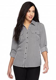 Kim Rogers Petite Striped Camp Shirt