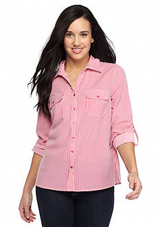 Kim Rogers Petite Striped Camp Shirt