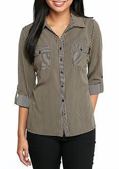 Kim Rogers Petite Stripe Camp Shirt