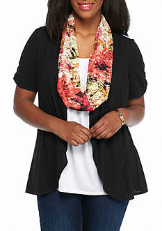 Kim Rogers Plus Size Short Sleeve 2Fer Top with Scarf