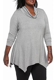 Kim Rogers Plus Size Cowl Neck Long Sleeve Shirt