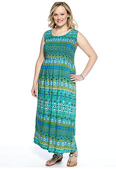 Kim Rogers Plus Size Sleeveless Printed Smocked Maxi Dress